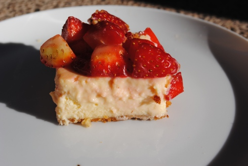 lemon cheesecake with strawberries, Marrakesh, Morocco