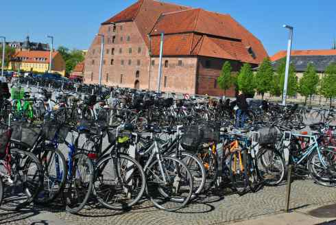 Denmark parking lot Copenhagen bikes